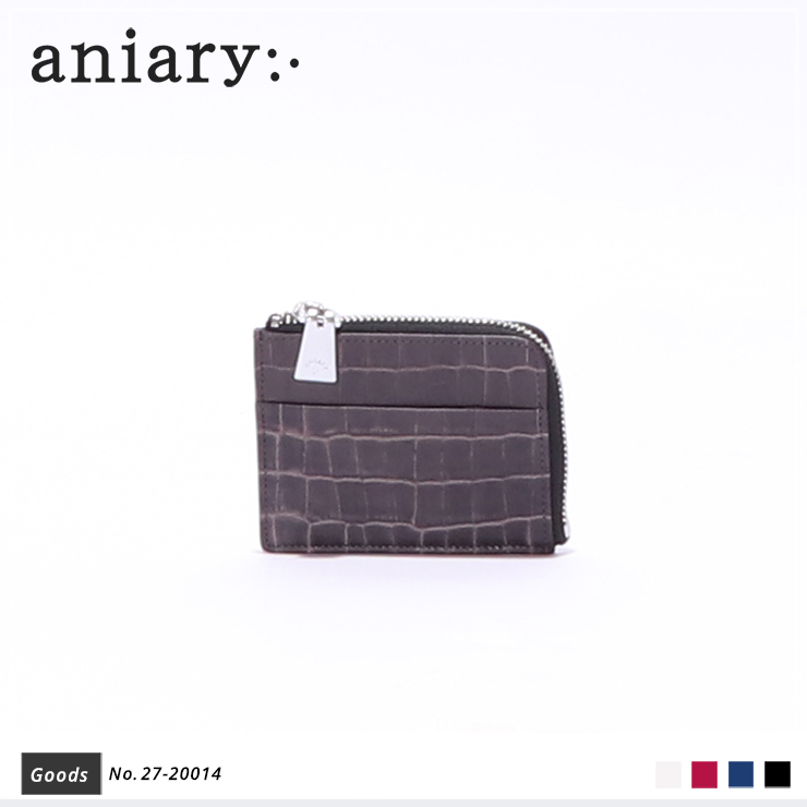 【aniary|アニアリ】コインケース Tint Embossing Leather 27-20014 Pale Black