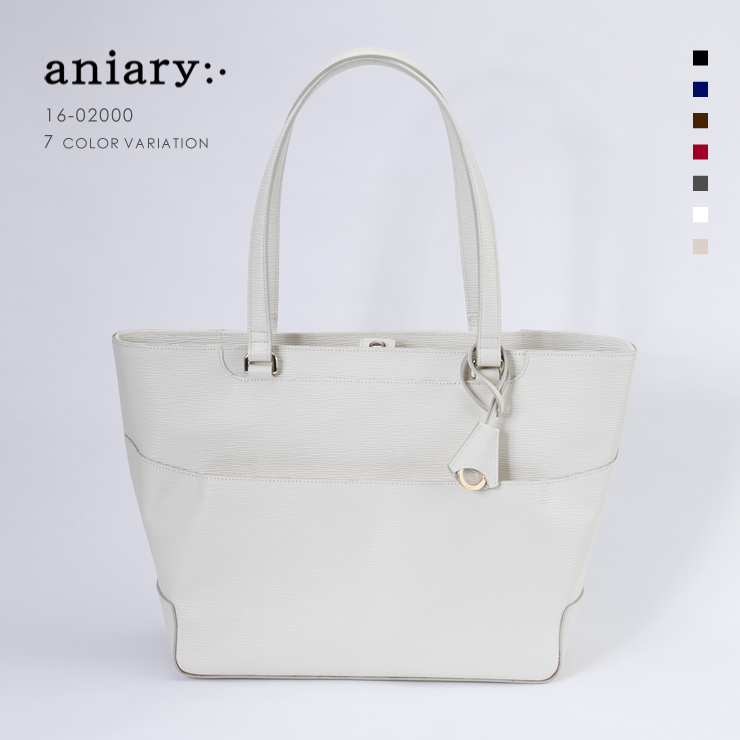 aniary トートバッグ Wave Leather 牛革 Totebag 16-02000-wh