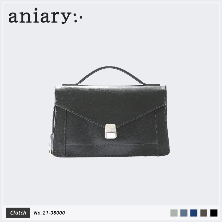 【aniary|アニアリ】クラッチバッグ Inheritance Leather 21-08000 Black